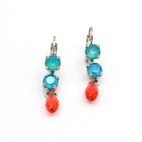 Bird of Paradise Collection Double Crystal Earrings with Drop