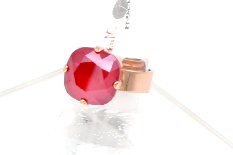 Remarkable Red 12MM Square Crystal Ring in Rose Gold