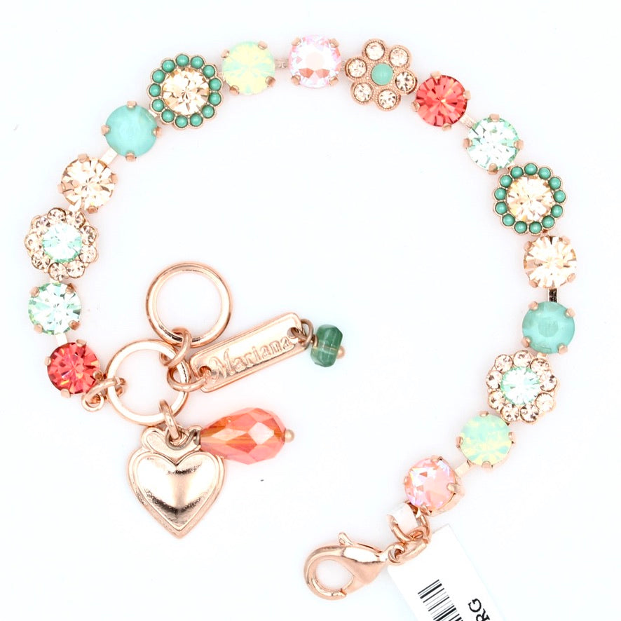 Peachy Keen Must Have Crystal Flower Bracelet in Rose Gold