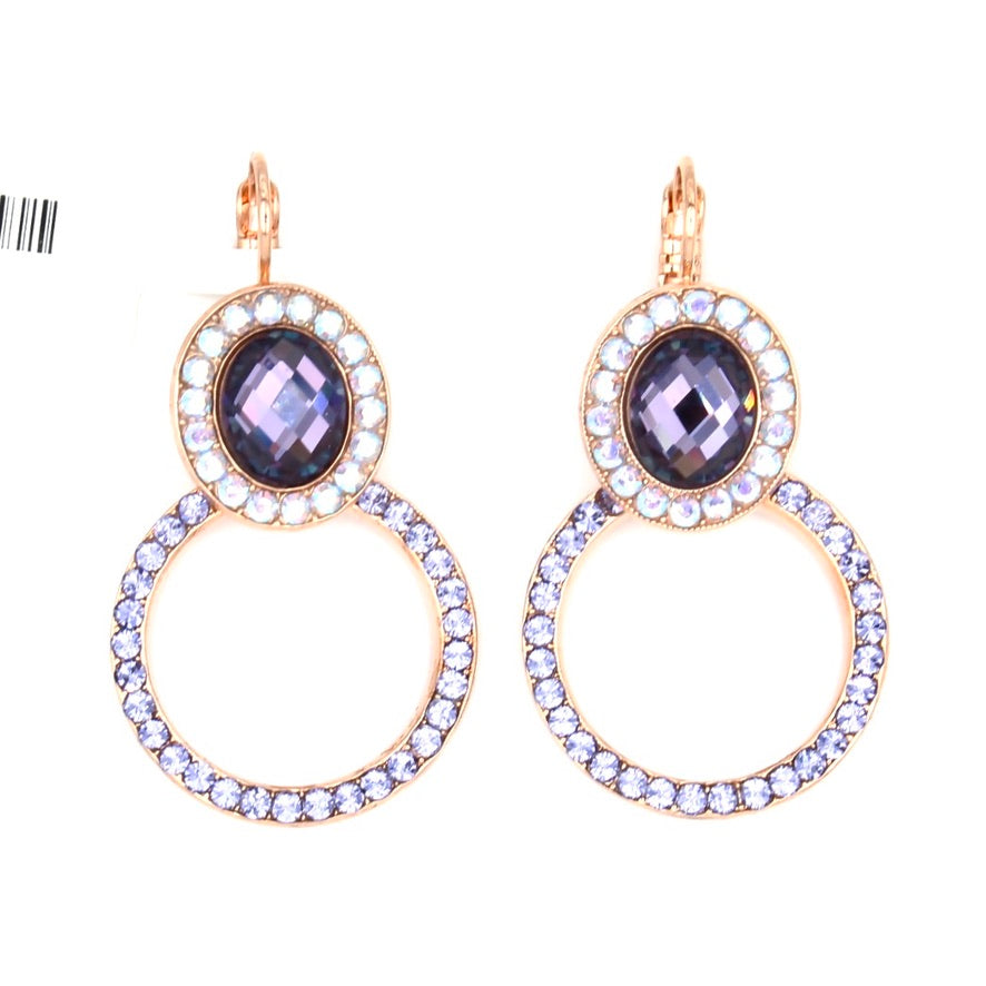 Purple Paradise Oval and Circle Earrings in Rose Gold