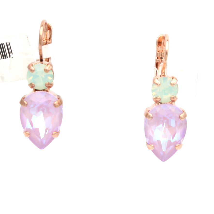 Lavender Collection Pear Shaped Earrings Rose Gold