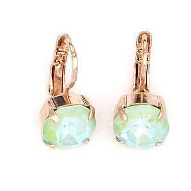 Peridot Sunkissed Lovable Crystal Earrings in Rose Gold