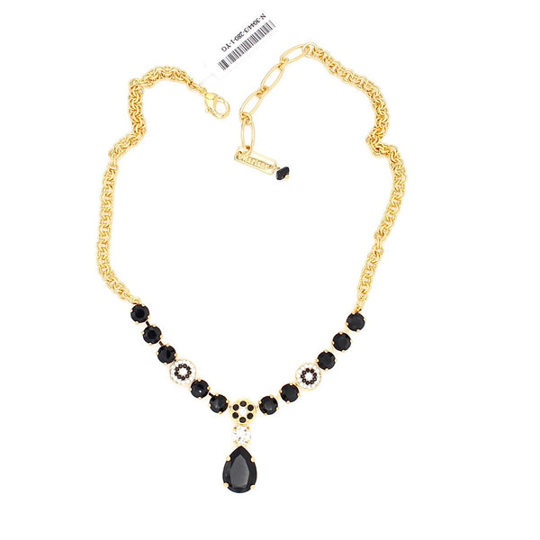 Checkmate Pear Drop Crystal Necklace in Yellow Gold