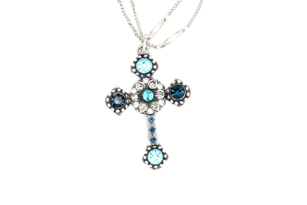Frost Collection Double Chain Cross Pendant Necklace