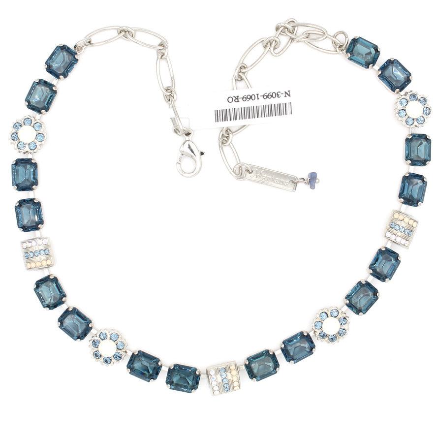 Mood Indigo Collection Rectangular and Flower Crystal Necklace