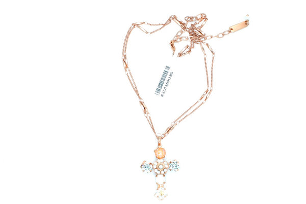 Sweet Pea Double Chain Cross Necklace in Rose Gold