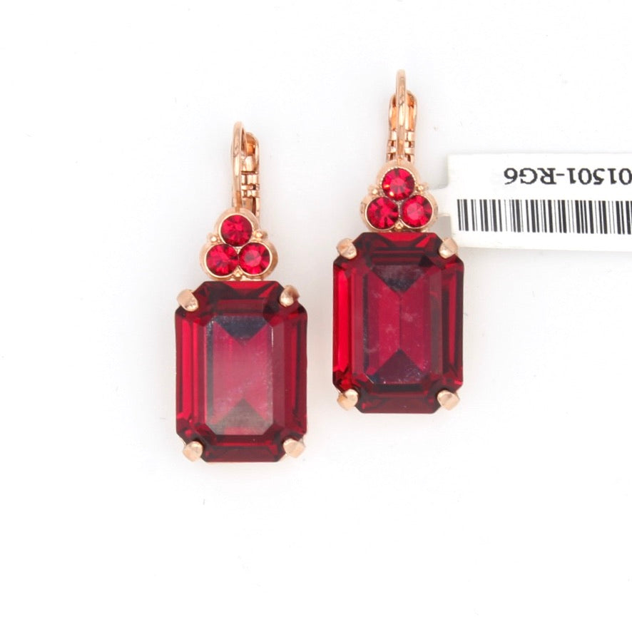 Ruby 12MM Crystal Emerald Cut Earrings in Rose Gold