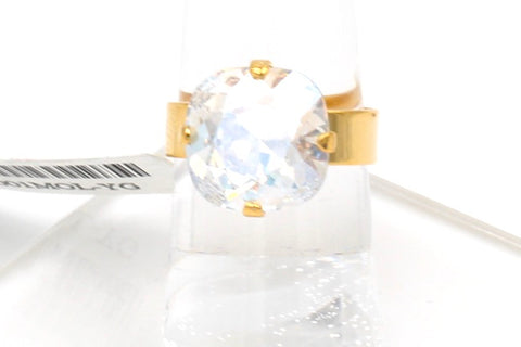 Crystal Moonlight 12MM Square Crystal Ring in Gold