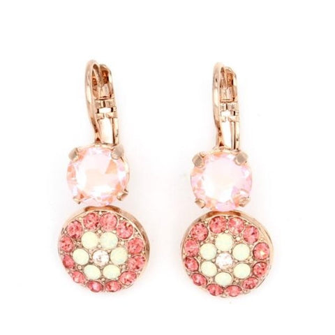 Peachy Keen Collection Small Round Crystal Flower Earrings in Rose Gold
