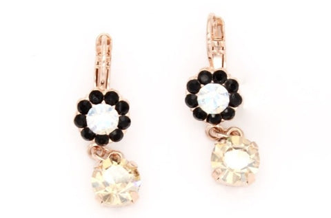 Black Orchid Collection Crystal Drop Earrings in Rose Gold