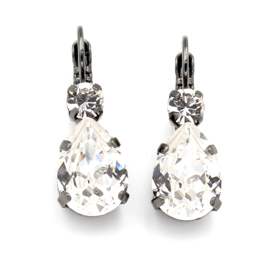 Clear Pear Shaped Earrings w/ Clear Accent Crystal in Gray
