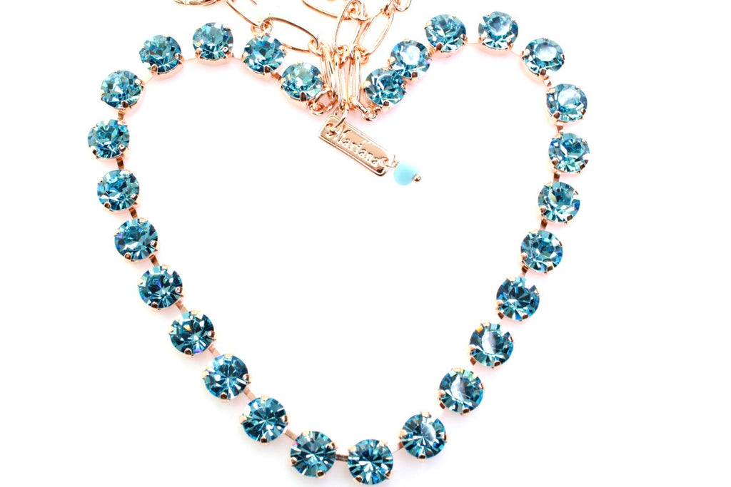Aquamarine Medium Crystal Necklace in Rose Gold