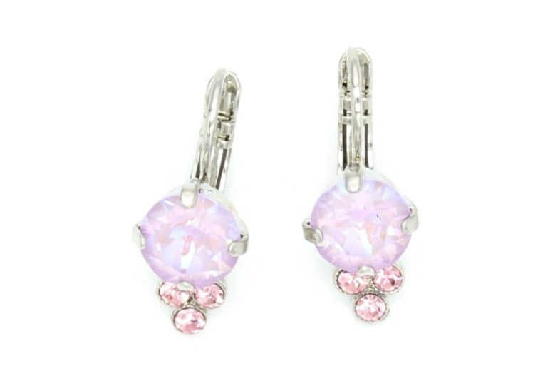 Lavender Collection Earrings with Triple Crystal Accent