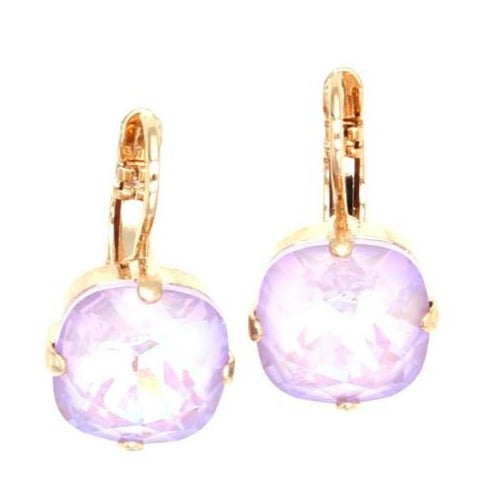 Sunkissed Lavender Lovable 12MM Square Earrings in Rose Gold