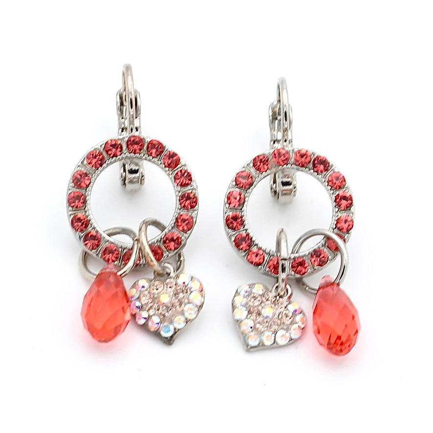Lovers Coral Heart Charm Crystal Earrings