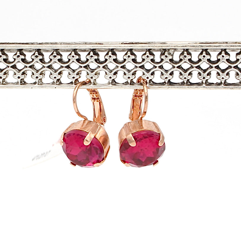 Ruby 11MM Lovable Crystal Earrings in rose Gold