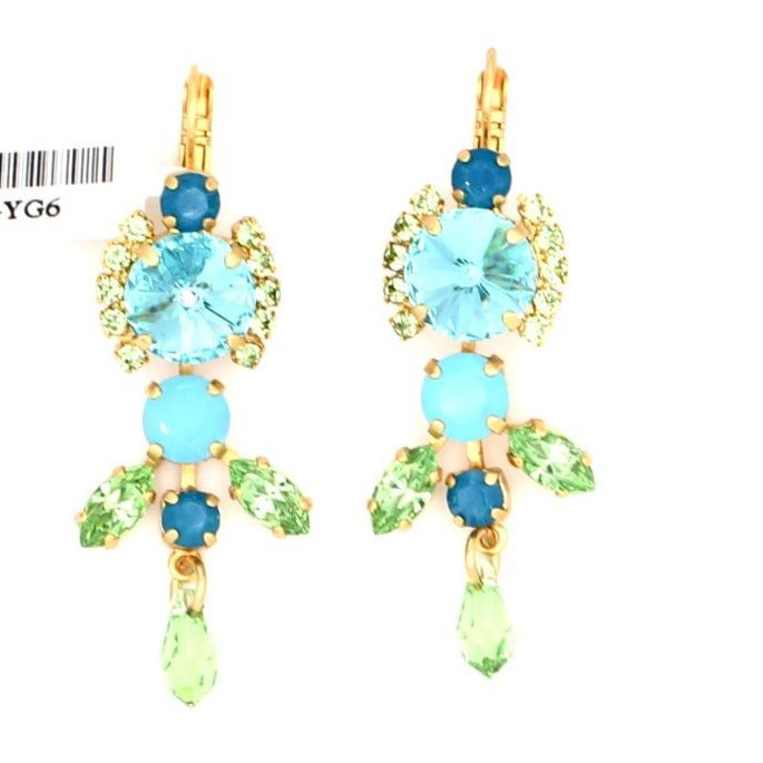 Caprioska Multi Crystal Earrings in Yellow Gold