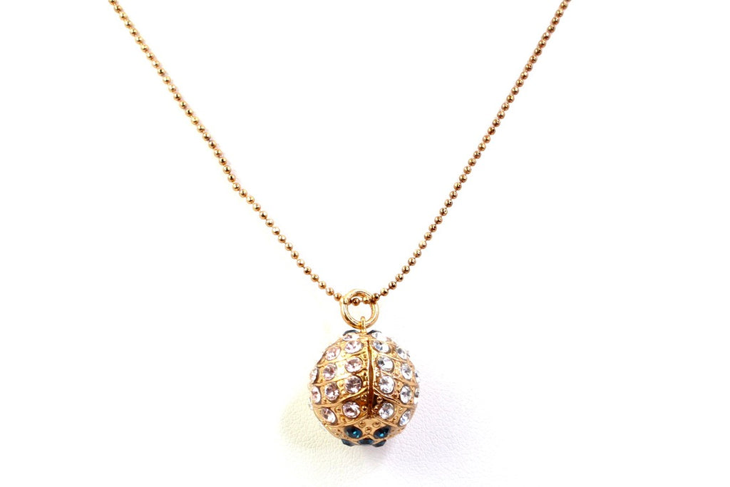 Ocean Sphere Pendant Necklace in English Gold