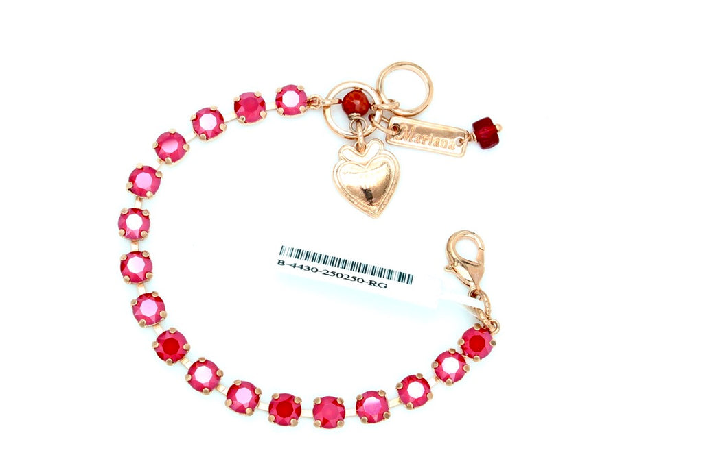 Remarkable Red 7MM Crystal Bracelet in Rose Gold
