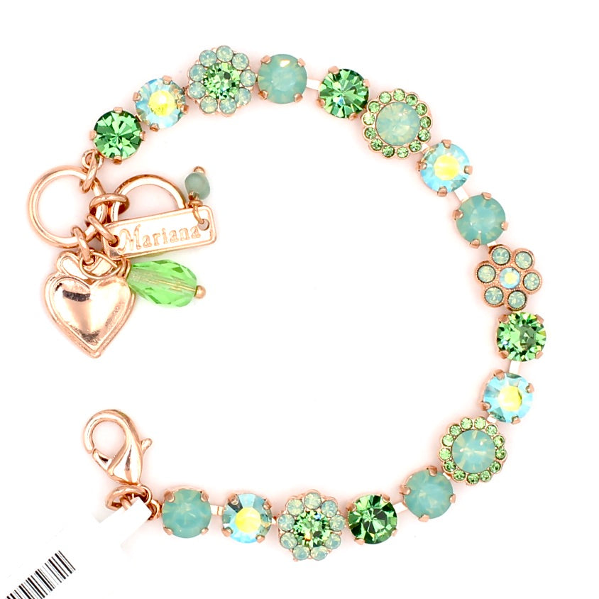 Green Ice Collection Must Have 7MM Crystal Flower Bracelet in Rose Gold