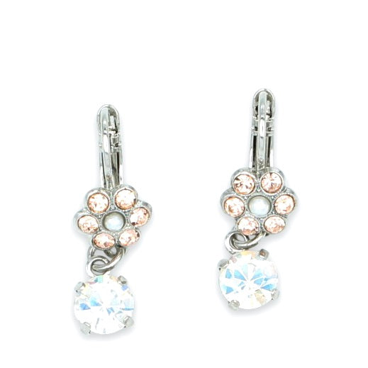 Barbados  Collection Small Flower Earrings with Crystal Drop