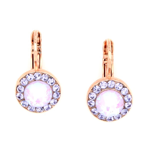 Purple Emperor Collection Round Crystal Earrings in Rose Gold