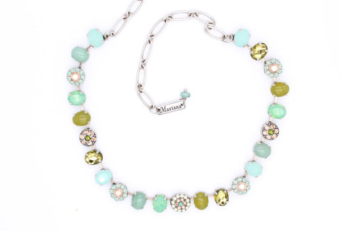 Evergreen Collection Oval and Round Crystal Necklace