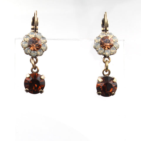 Aphrodite Collection Crystal Drop Earrings in Antique Gold