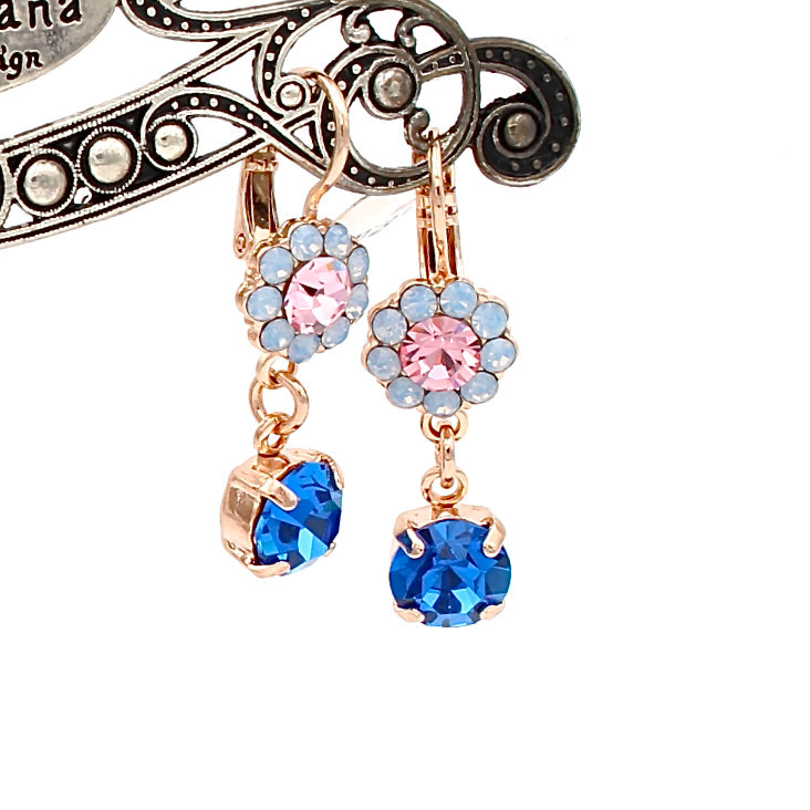 Kiss From A Rose Collection Crystal Drop Earrings in Rose Gold