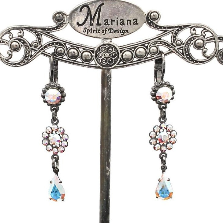 Crystal AB Flower Drop Earrings in Gray