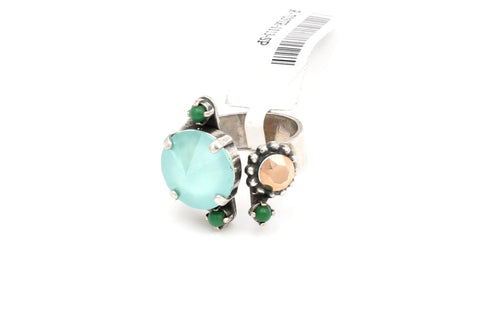 Evergreen Collection Adjustable Ring with 2 Round Crystals and Small Round Accents