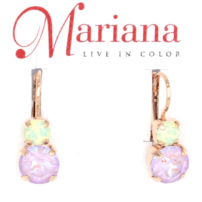 Lavender Collection Medium Double Crystal Earrings in Rose Gold