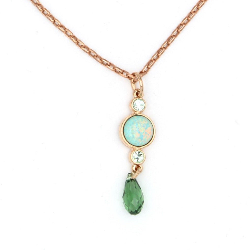 Fern Synthetic Green Opal Pendant Necklace in Rose Gold