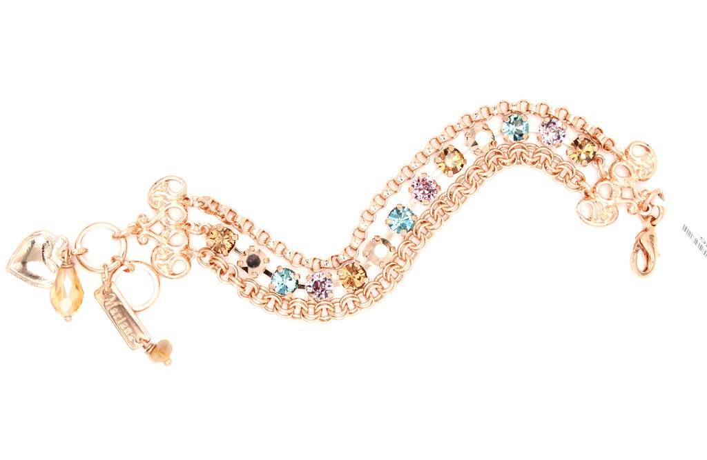 Rhapsode Triple Strand Crystal Bracelet in Rose Gold