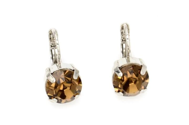 Smoky Quartz 11MM Crystal Earrings