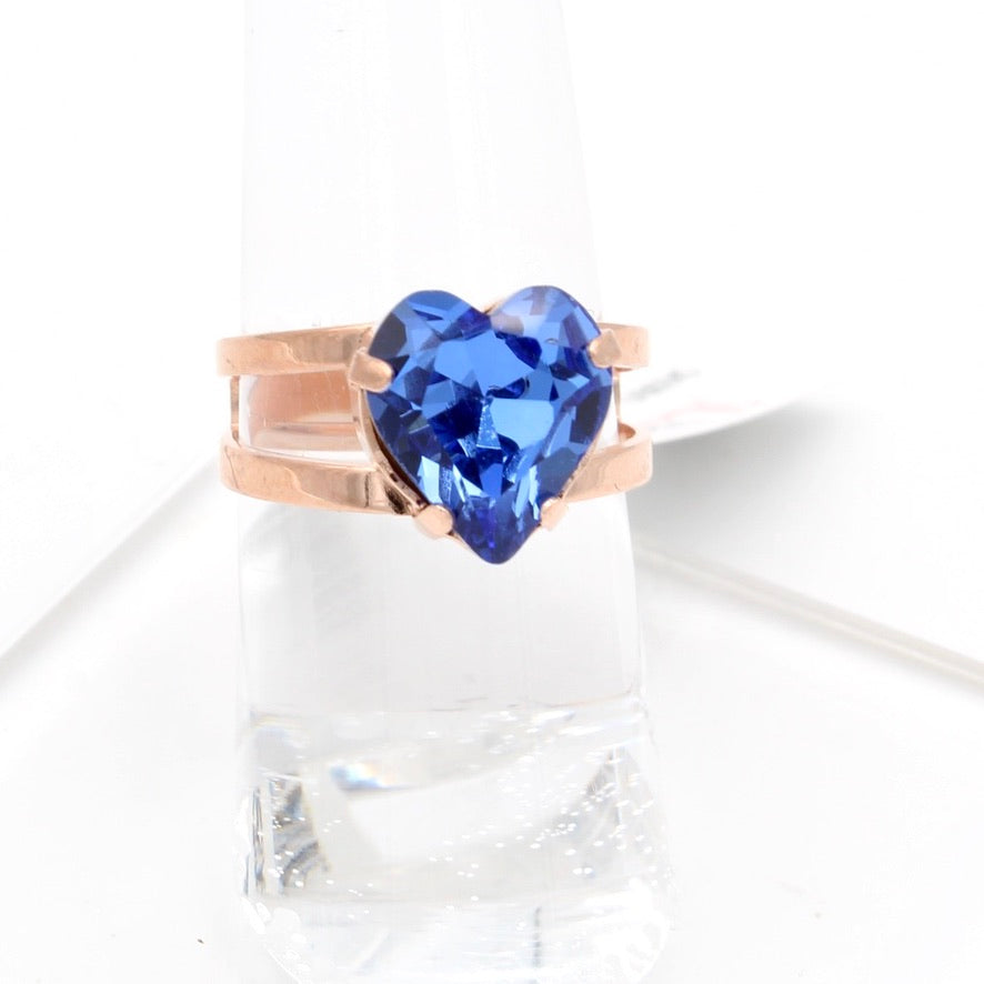 Sapphire Heart 10MM Adjustable Crystal Ring in Rose Gold