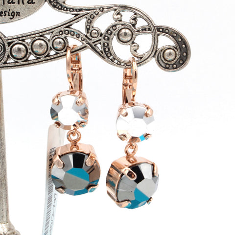 Black Diamond Crystal Dangle Earrings in Rose Gold