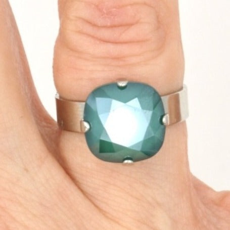 Royal Green 12MM Square Crystal Ring