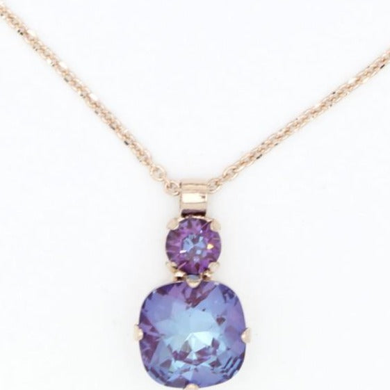 Plum Sunkissed Double Crystal Pendant Necklace in Rose Gold