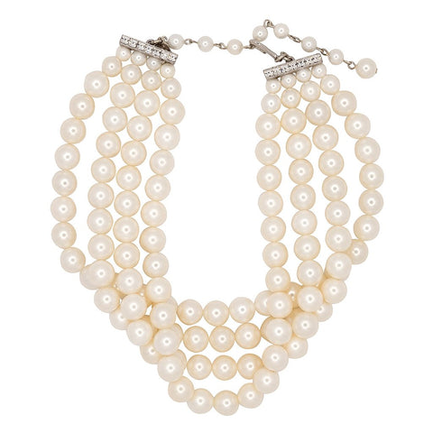 4 Row White Shell Choker Pearl Necklace