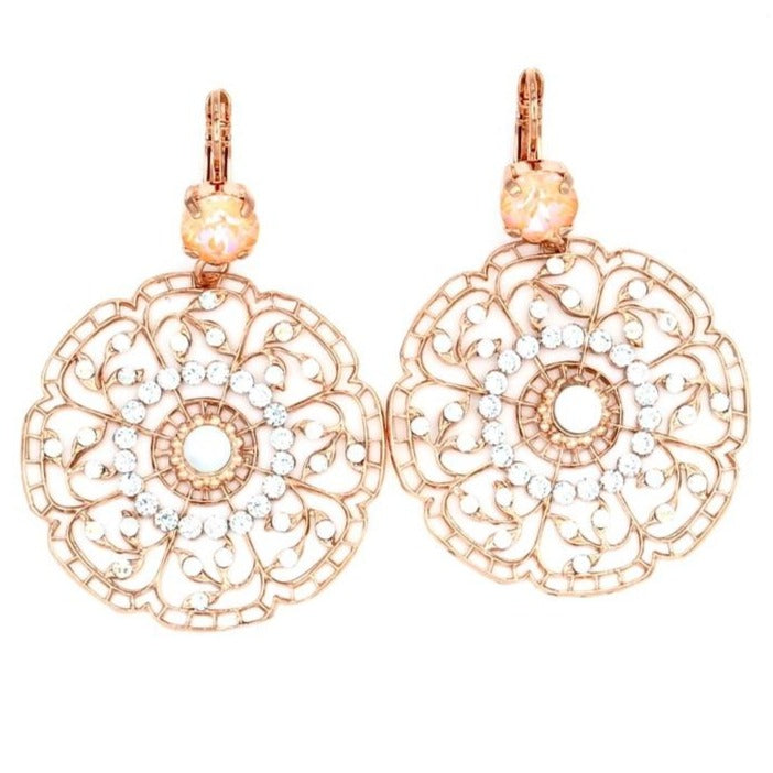 Sweet Pea Large Round Filigree Earrings in Rose Gold