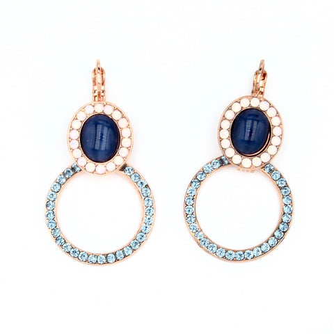 Blue Morpho Oval and Circle Earrings in Rose Gold