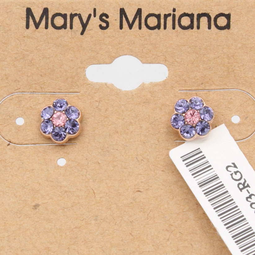 Tanzanite and Light Rose 6MM Flower earrings in Rose Gold *POST*