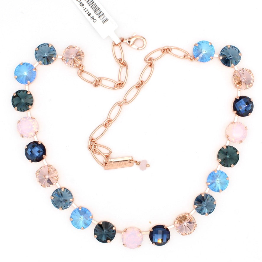 Blue Morpho Collection Rivoli Lovable Crystal Necklace in Rose Gold