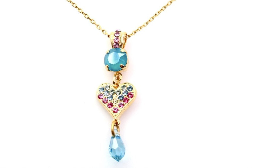 Spring Flowers Crystal and Heart Pendant Necklace in Yellow Gold