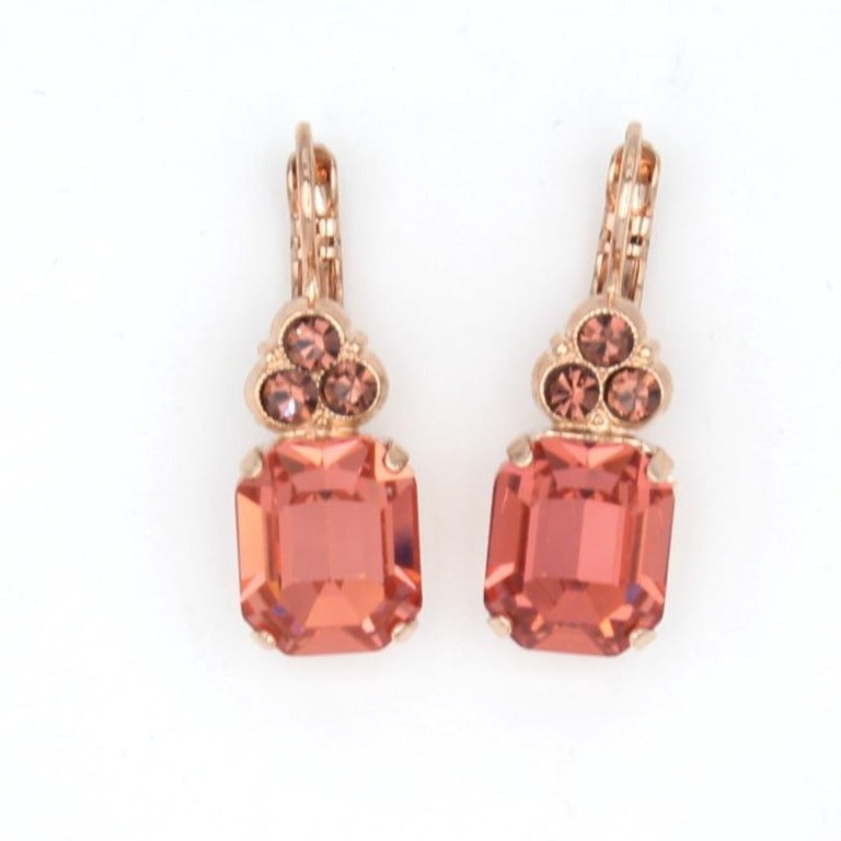 Meadow Brown Rectangular w/accent Crystal Earrings in Rose Gold