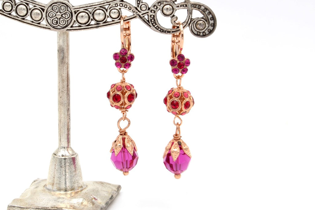 Firefly Collection  Crystal Earrings in Rose Gold