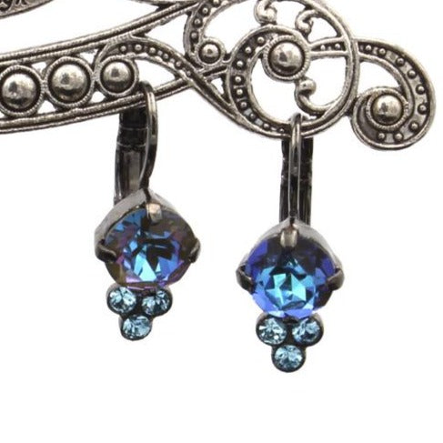 Midnight Sunkissed & Aqua Earrings with Triple Crystal Accent set in Gray