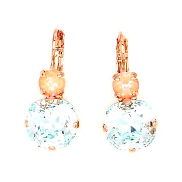 Sweet Pea 12MM Square Double Crystal Earrings in Rose Gold