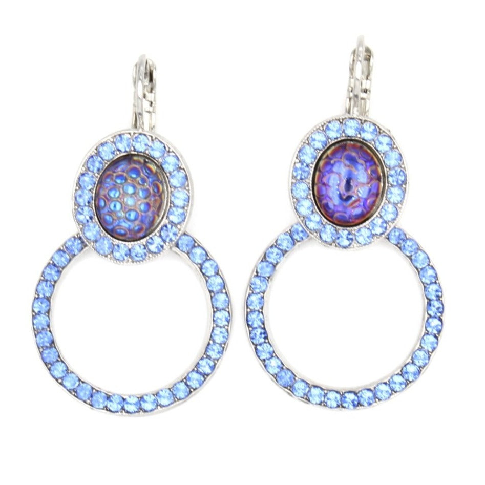 Sapphire Oval and Circle Earrings